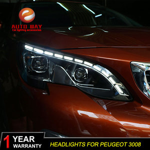 Image 3 - Car Styling Head Lamp case for Peugeot 3008 2017 Headlights LED Headlight DRL Lens Double Beam Bi Xenon HID Car Accessorie