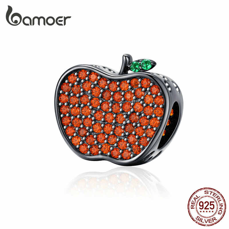 bamoer Silver 925 Jewelry Design Red Apple Charm fit Original Bracelet & Bangle Bijoux Halloween Festival Collection SCC1360