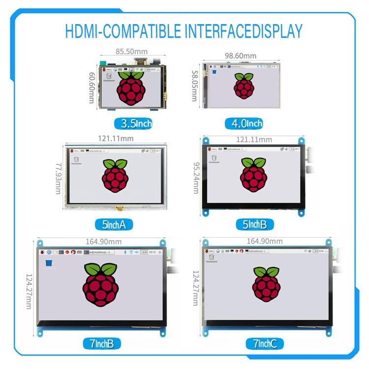[Серия] 3,5 дюймов/4 дюйма/5 дюймов/7 дюймов, Raspberry Pi 4-го поколения, Резистивный/емкостный сенсорный экран