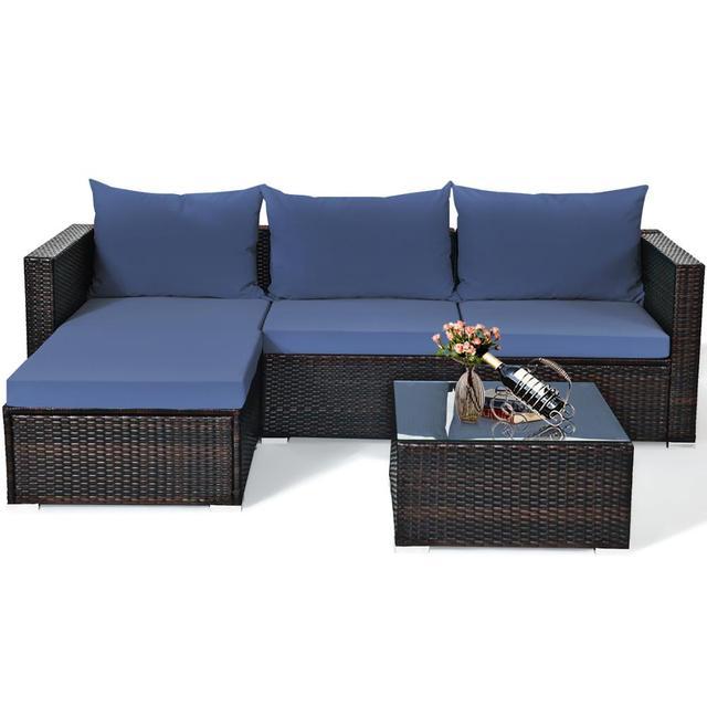 5PCS Patio Rattan Furniture Set Sectional Conversation Sofa w/ Coffee Table HW66521 6