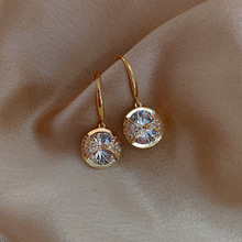 Trendy Round Simple Crystal Dangle Earrings For Women Fashion Sweet Water Drop Pendant Earring Girl Party Birthday Jewelry Gift
