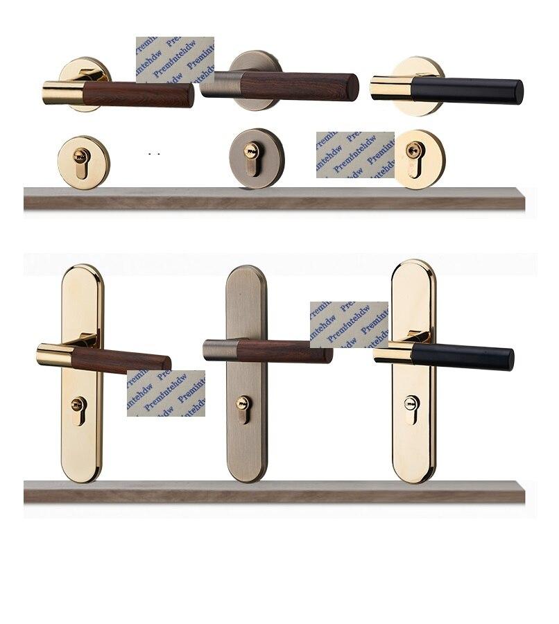 Or Bronze Zinc mortaise intérieur chambre Rosette poignée porte serrure ensemble rond pouce tourner aimant serrure corps en bois Texture