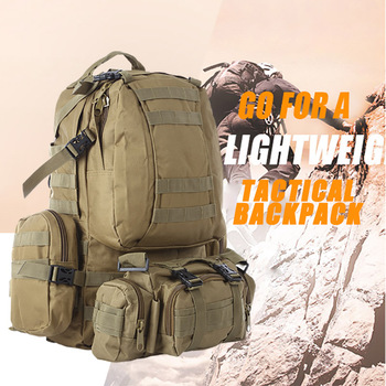 50L Tactical Backpack 4 in 1 Military Bags Army Rucksack Backpack Molle Outdoor Sport Bag Men Camping Hiking Travel Climbing Bag 70l men women waterproof travel backpack camping climbing sports bag mountaineering hiking backpack molle sport bags rucksack