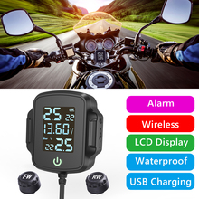 Tire Pressure Alarm Motorcycle TPMS Tire Pressure Monitoring System w/ QC 3.0 USB Fast Charger Car Alarm Systems & Security