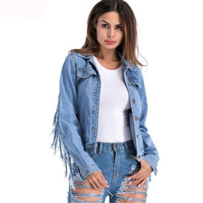 Image 5 - Women  Slim hot fashion holes Denim Jacket Lady Elegant Vintage  Jackets Basic Coats Large size fringe denim jacketJackets   -