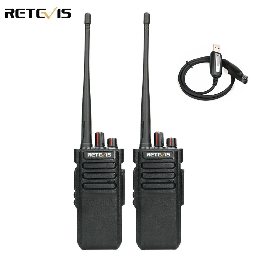 A Pair High Power Retevis RT29 Walkie Talkie IP67 Waterproof UHF400-480MHz VOX TOT Scan 2 Way Radio HF Transceiver+Program Cable