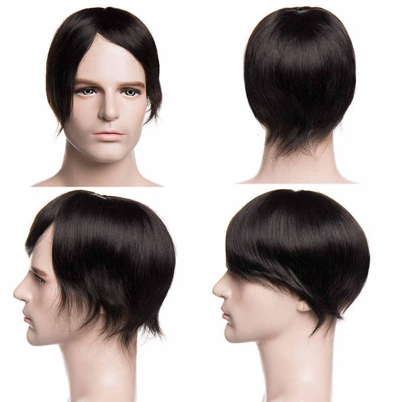 """Sego 6 ''X 8"""" Straight Echt Menselijk Haar Mannen Pruiken Non-Remy Mono & Pu Dunne Huid natuurlijke Haarstukje Pruik Vervanging Indian Haar Systeem"""