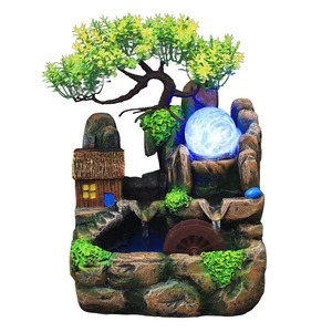 Image 2 - Led Lights Resin Rockery Flowing Water Fountain Lucky Feng Shui Wheel Office Desktop Ornaments With Nebulizer Home Decoration