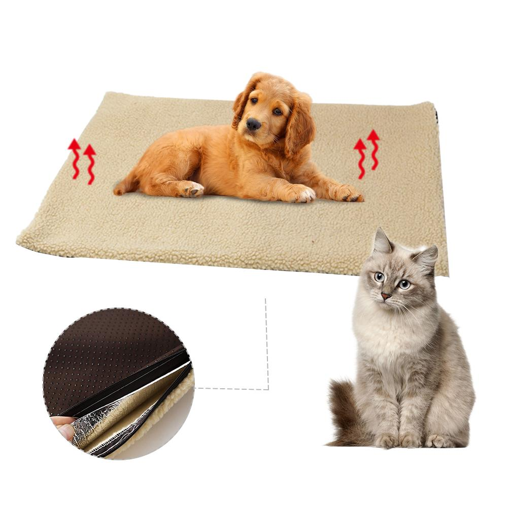 Self Heating Pet Bed Mat Super Soft Fleece Comfortable Mat Pet-Washable Bed Heated Blanket For Cats Dogs