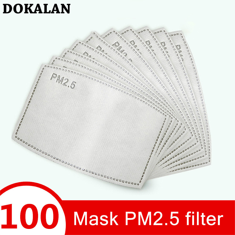 100pcs PM2.5 Mask Filter Masque 5 Layers Mask Activated Carbon Filter Replaceable For Adults Mouth Mask Dust Face Masks Maske