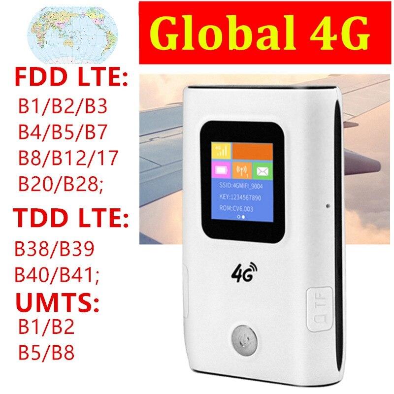 4G WiFi Router Mifi 4G LTE Pocket Mobile Wifi Hotspot 5200MAh Power Bank FDD/TDD Global Sim Card