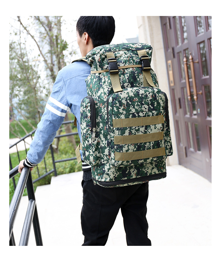 Outdoor Backpack 70L Large Capacity Mountaineering Bag Camouflage Camping Hiking Luggage Backpack