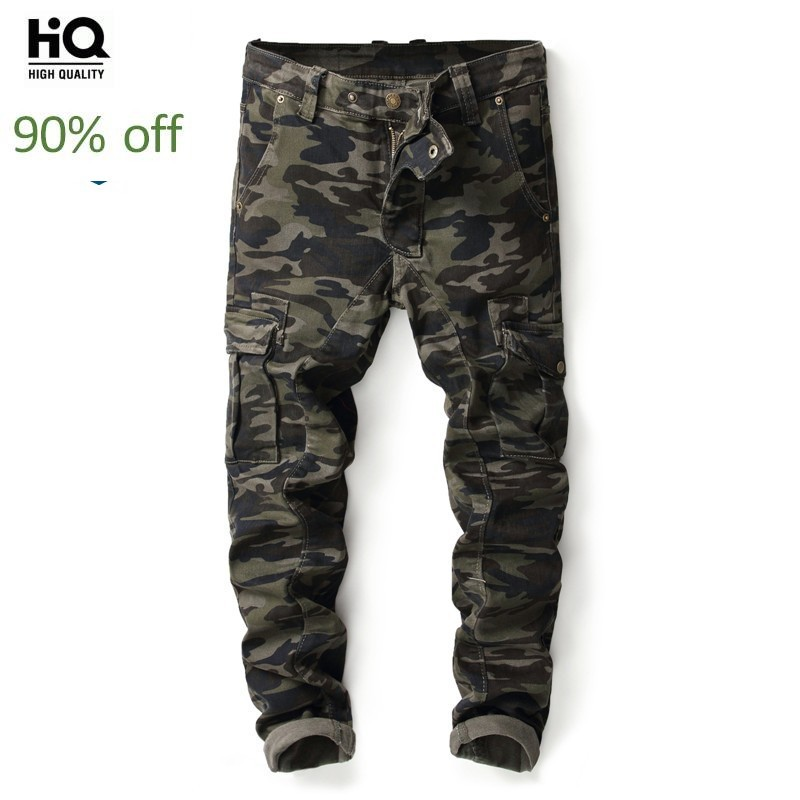 Korean Camouflage Joggers Slim Fit Jeans Multi Pocket Cargo Denim Pencil Pants Men Autumn Fashion Famous Brand Jeans Trouser New