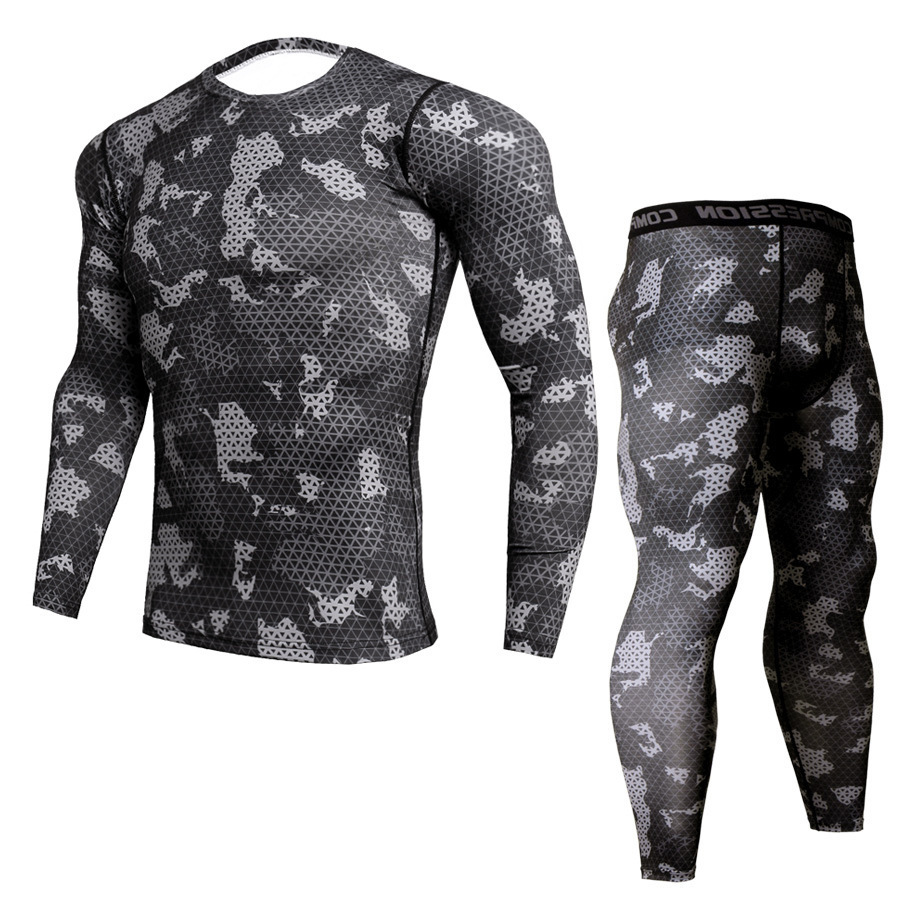 Cross Border Long Sleeve Tights Men's Sports Suit Quick Drying Fitness Suit Running Training Elastic Compression Clothes