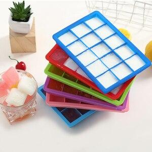 Лето 15 Сетка Пищевой Силиконовый поднос для льда с крышкой для дома DIY Желе льда кубик чайник квадратное мороженое кухонные инструменты
