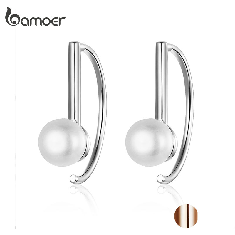 BAMOER Silver 925 Jewelry Earrings Big Circle Geometric Stud Earrings for Women Shell Pearl Earings Female Korea Jewelry SCE604(China)