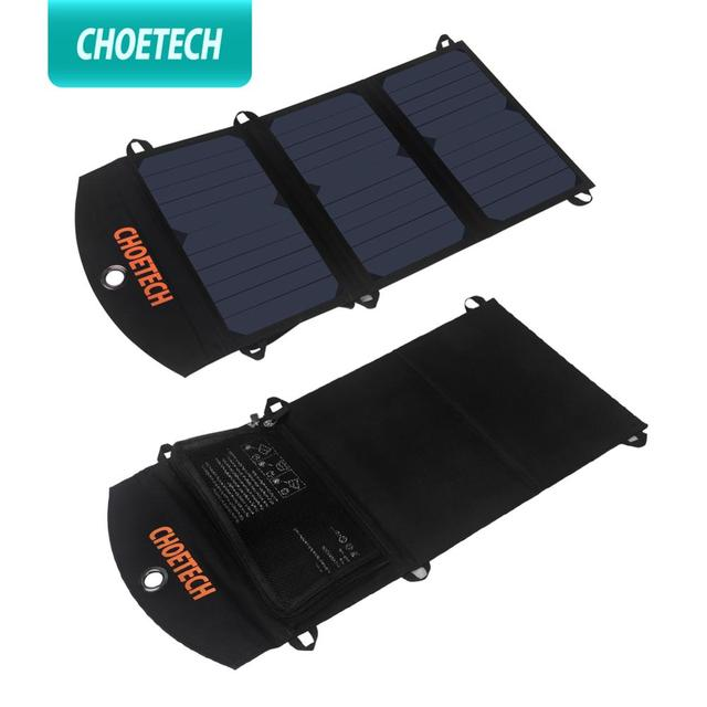 CHOETECH 19W Waterproof Solar Charger Foldable Outdoor Solar Panel Battery USB Charger with Auto Detect Tech For iPhone Samsung