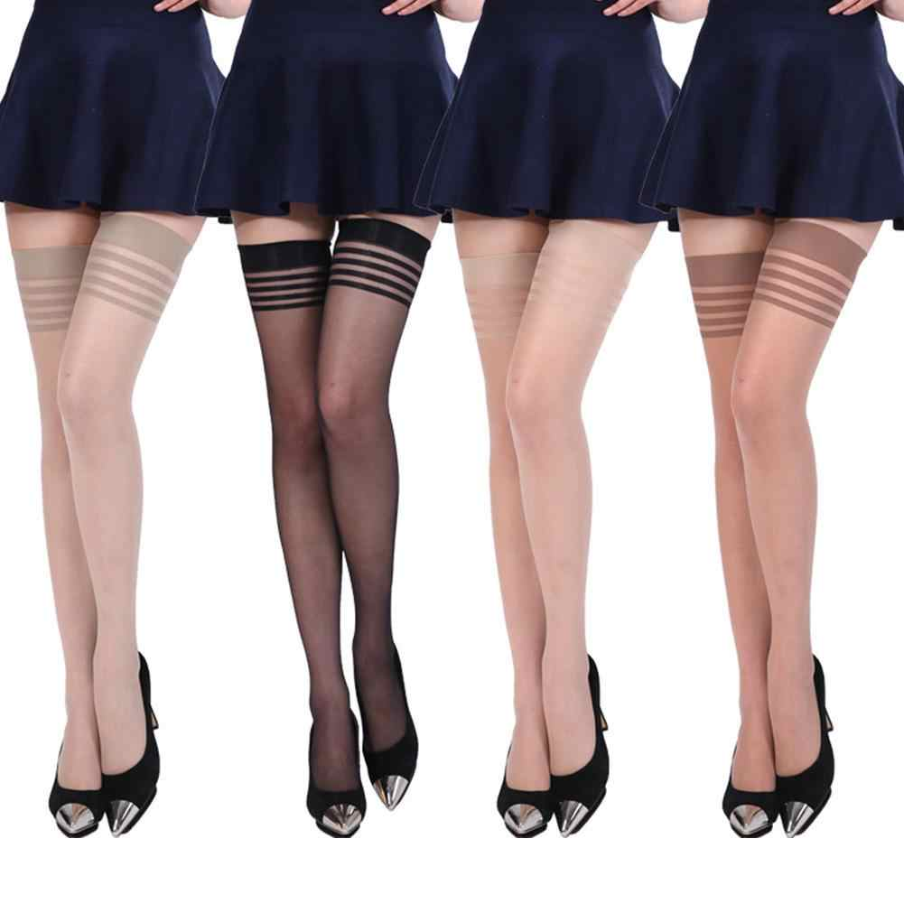Sexy senhora alta meias verão respirável ver através da coxa boate meias meia-calça feminina sobre o joelho meias