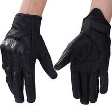 Guantes de cuero para motocicleta, protectores de manos para pantalla táctil, cálidos para invierno
