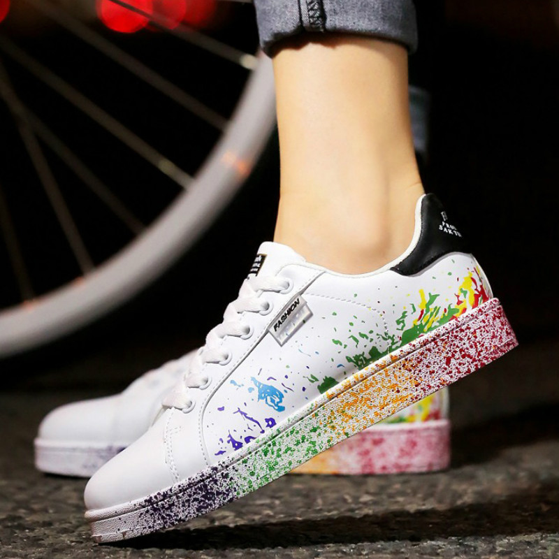 2019 Autumn Women Flat Sneakers Lace-up Colorful Graffiti Platform Female PU Flats Fashion Ladies Walking Vulcanized Shoes New