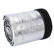 Black Silver Heat Shield Sleeve Insulated Wire Hose Cover Wrap Loom Tube 6 Ft(China)