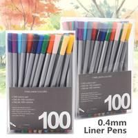 100 цветов 0,4 мм тонкий лайнер для рисования краска ing акварельные Маркеры Ручка Искусство Кисть для рисования, ручка граффити пигмент набор ш...