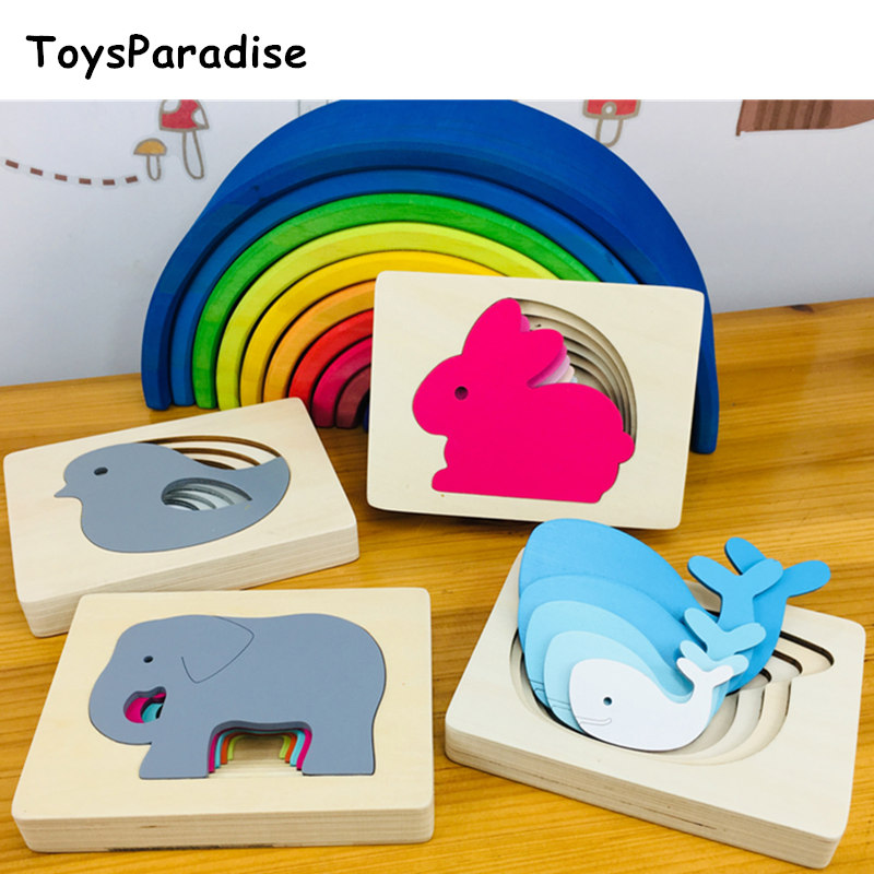 Montessori Gradient Multilayer Puzzles Wooden Toys For Kids Sunset Color Rainbow Blocks Educational Preschool Teaching Aids