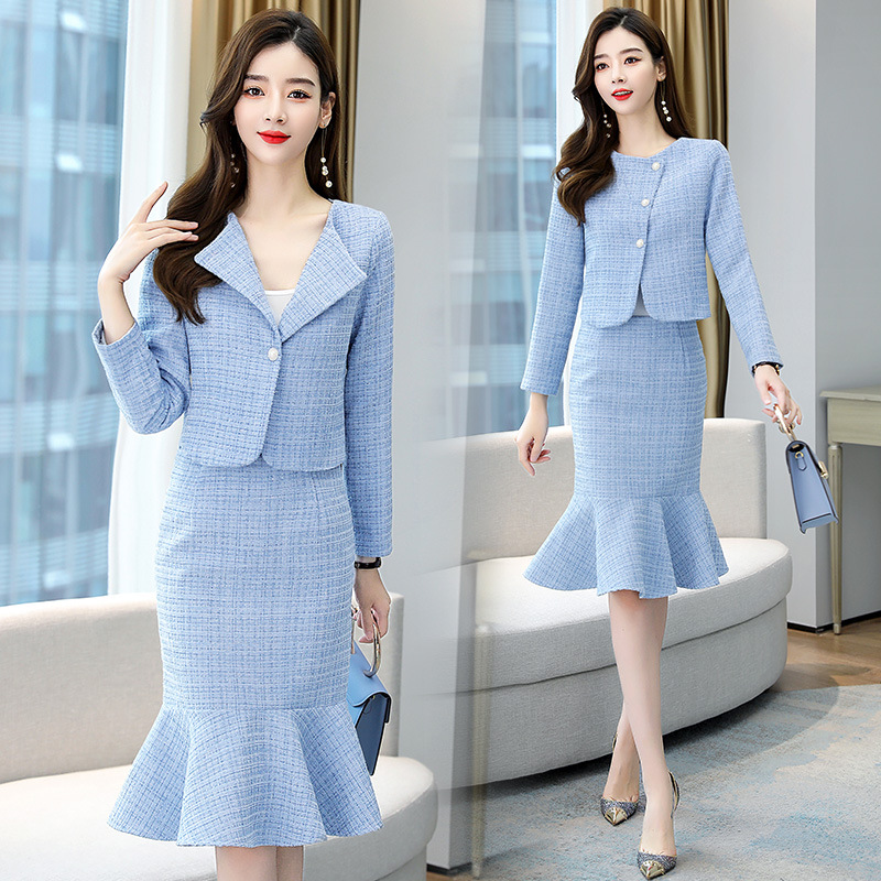 High quality female suit skirt two-piece suit Autumn and winter women's slim fit short ladies jacket High-waisted mermaid skirt