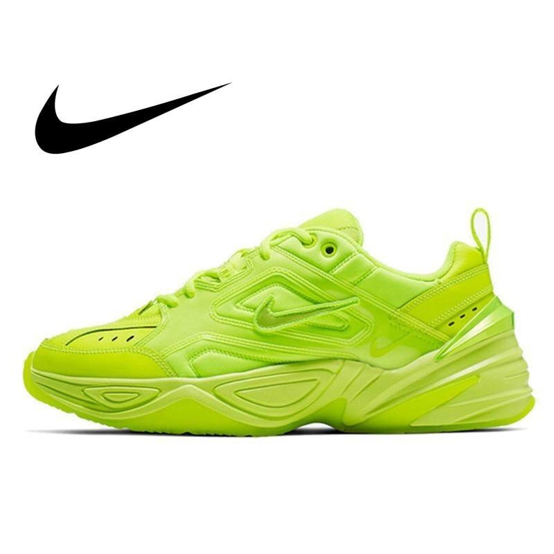 Nike M2k Tekno Original Men Running Shoes Fluorescent Green Comfortable Purple Outdoor Sports Sneakers Men