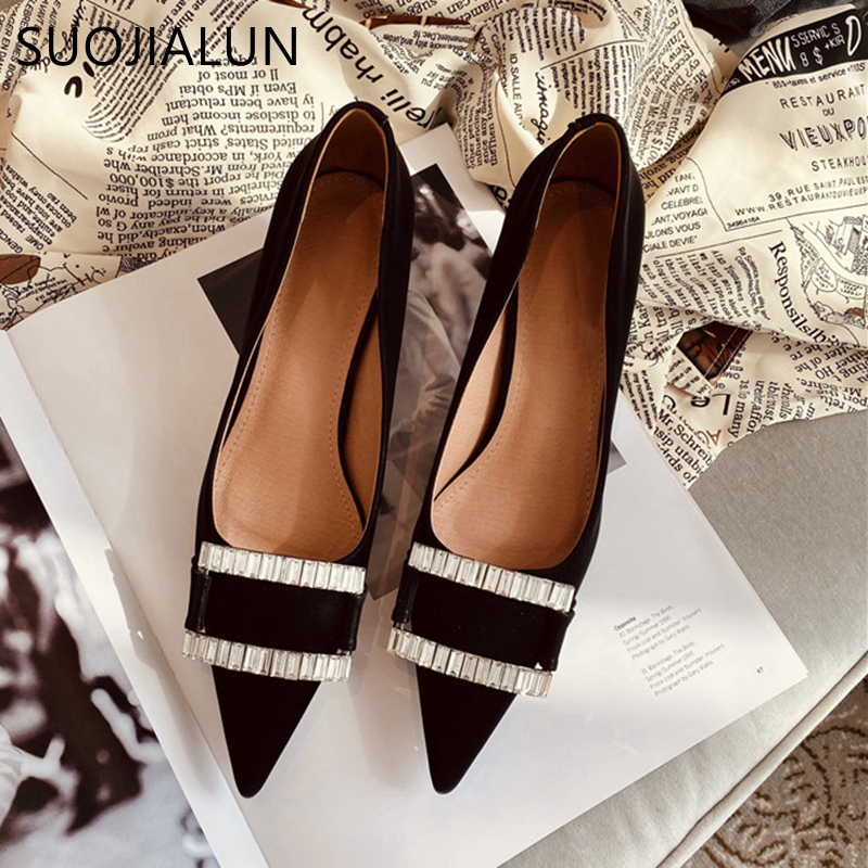 SUOJIALUN 2020 Spring Brand Women Pump Low Heel Point Toe Party Dress Shoes Fashion Rhinestone Buckle Office Lady Pump Shoes