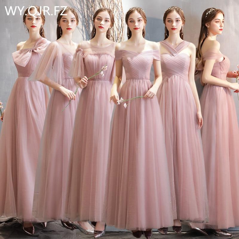 MNZ-825#Pink Blue Bridesmaid Dresses Long Lace Up Wholesale Party Graduation Christmas Dress Girls Bride Marriage Bride Marriage