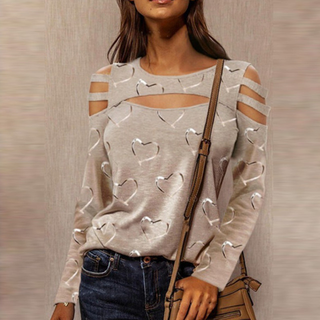 Women Casual O Neck Blouses Tops Sexy Ladies Hollow Out Long Sleeve Pullovers 2021 Spring Elegant Love Heart Print Shirt Blusas 5