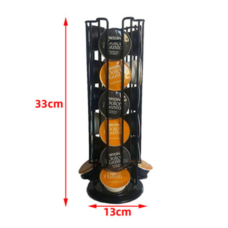 18-24-30 Capsules Black /Stainless Color Coffee Pod Holder  Dispensing Tower Stand Fits Dolce Gusto Capsule Storage Shelf Holder