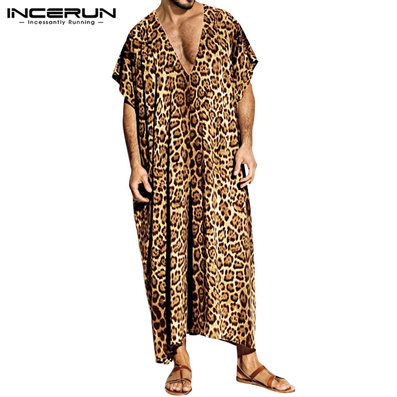 INCERUN Fashion Leopard Print Men Robes Casual Sleepwear Short Sleeve Homewear V Neck Loose Nightgown Bathrobe Men Muslim Kaftan