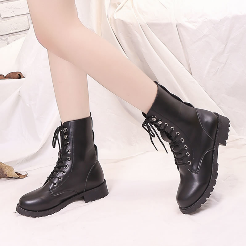 LOOZYKIT tıknaz motosiklet botları kadın sonbahar yuvarlak ayak dantel-up siyah çizmeler ayakkabı sokak açık stil kızlar yüksek tüp çizmeler