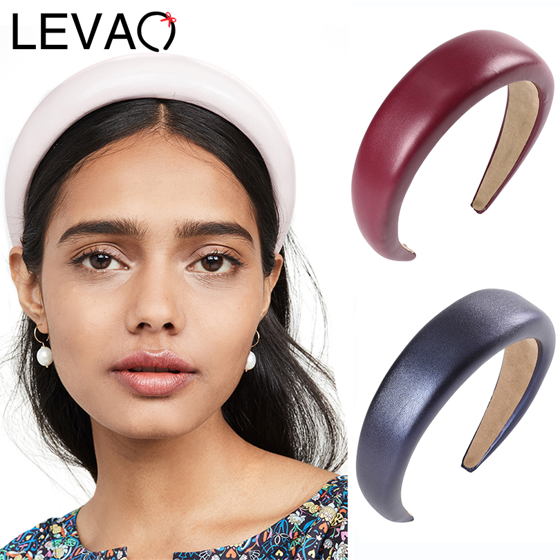 LEVAO 2020 Leather Sponge Padded Headband Fashion Hairband Bezel Turban Elegant Women Girls Hair Accessories Headwear Hair Hoop
