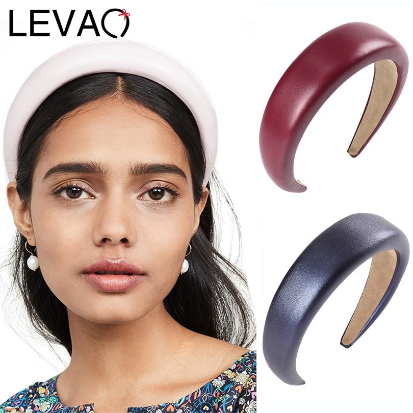 LEVAO 2020 Leather Sponge Padded Headband Fashion Hairband Bezel Turban Elegant Women Girls Hair Accessories Headwear Hair Hoop