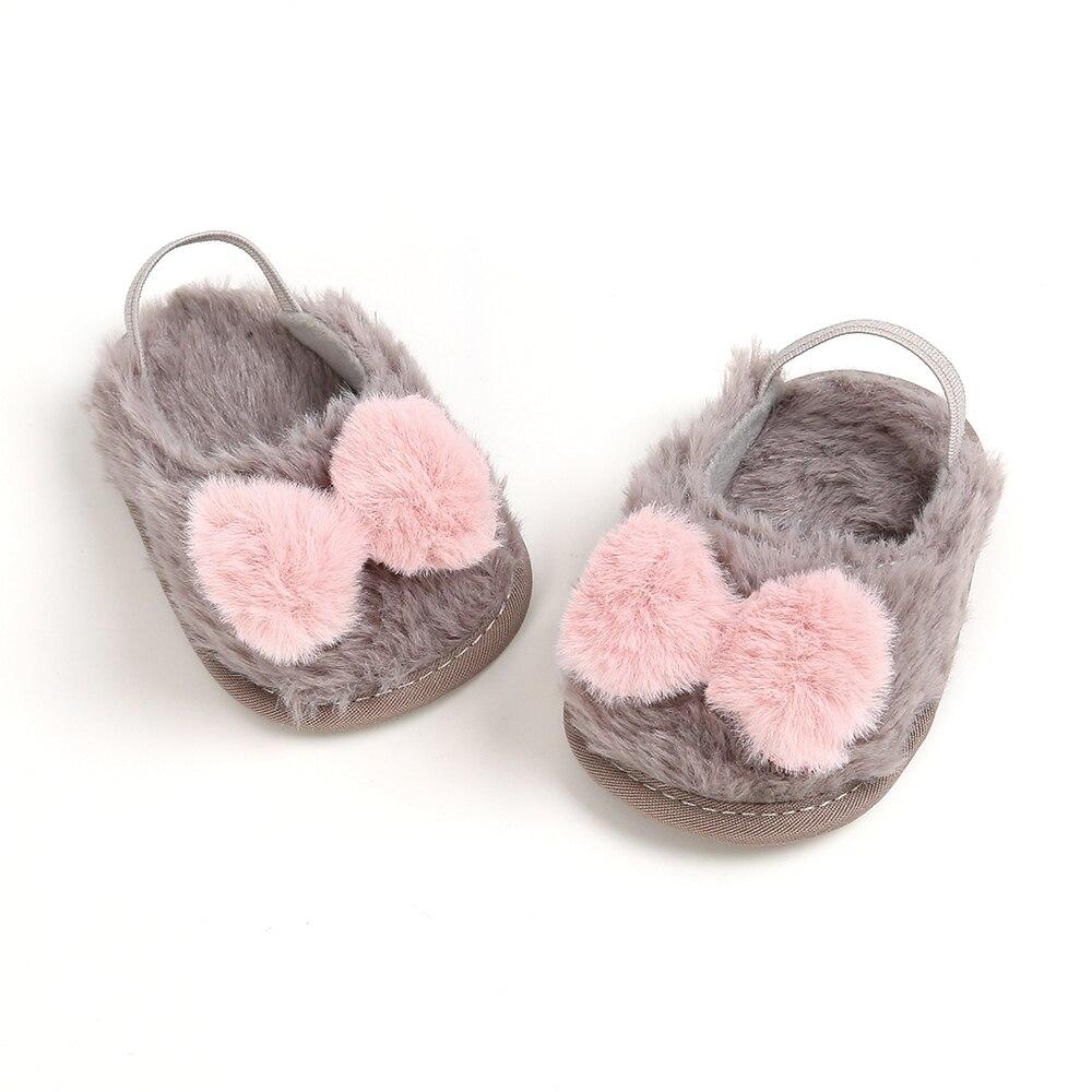 Baby Girl Cute Plush Soft Slide Slip On Flat Sandal Slipper Casual Infant Crib Shoess