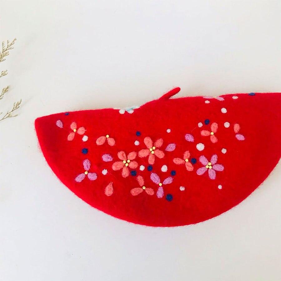 Ретро благоприятный кран шерстяная шапка женские шапки береты на зиму, теплый, для женщин шляпа Корейский ручной работы береты шапки s милый Рождественский подарок на Новый год - 3