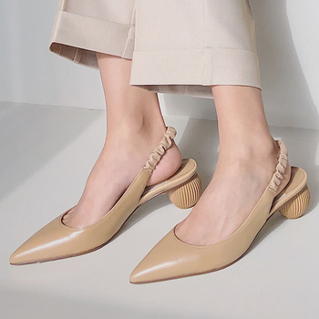 Doratasia 2020 Wholesale Pointed Toe Slip On Round Heels Women Shoes Summer Pointed Toe Slingback Sandals Woman
