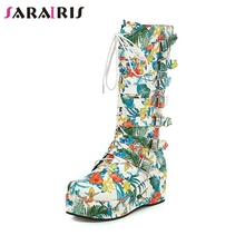 SARAIRIS New Winter Plus Size 33-46 Fashion Flower Print mid-calf Boots Women 2019 Platform Buckle Wedges Shoes Woman