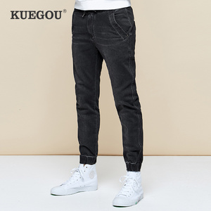Image 1 - KUEGOU 2019 Autumn Cotton Black Skinny Jeans Men Streetwear Brand Slim Fit Denim Pants Male Biker Classic Stretch Trousers 2979