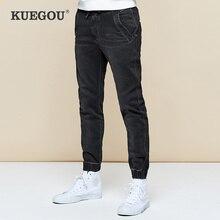 KUEGOU 2019 가을 코튼 블랙 스키니 청바지 남성 Streetwear 브랜드 슬림 피트 데님 바지 남성 바이커 클래식 스트레치 바지 2979