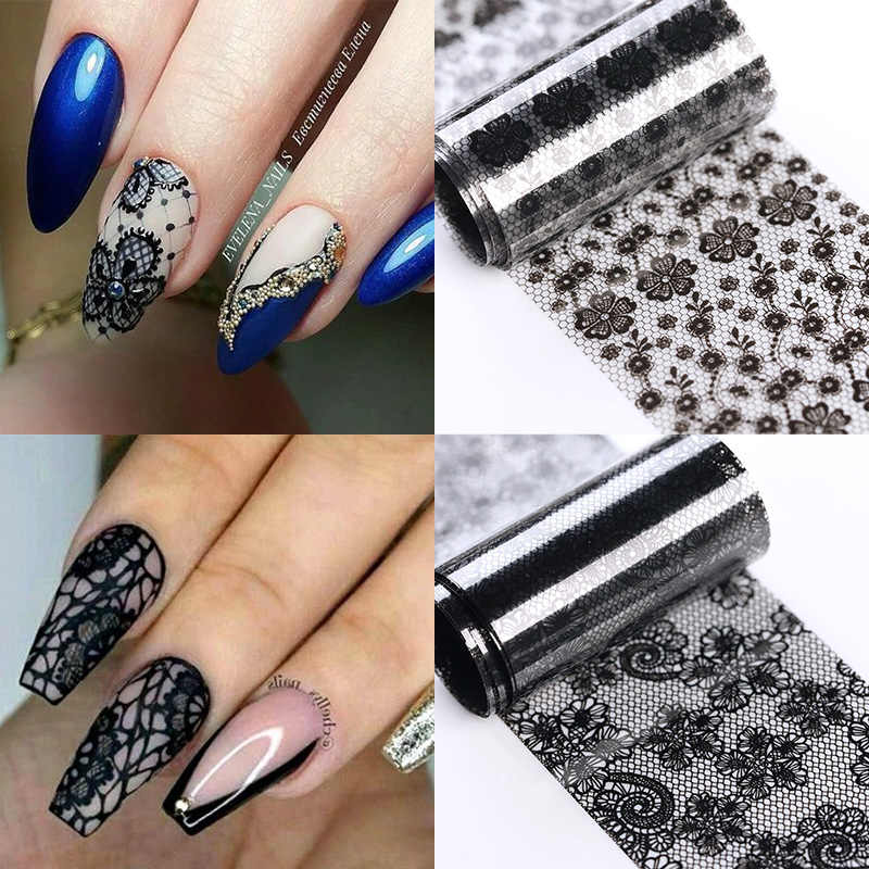 1 Roll Zwart Chic Lace Nail Folies Bloem Serie Nail Stickers Diy Transfer Decals Sticker Nail Art Papers Tips Decoratie