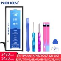Bateria NOHON dla iPhone 4 4S 5 5C 5S 6 6S 7 8 Plus SE X XR XS Max iPhone6 6G 7G wymiana baterii prawdziwa pojemność + darmowe narzędzia w Baterie do telefonów komórkowych od Telefony komórkowe i telekomunikacja na