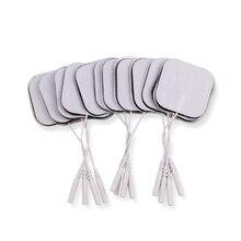 Almohadillas de electrodos reutilizables, 100 unidades/lote, 5x5cm, 2mm, para Estimulador muscular nervioso, fisioterapia Digital