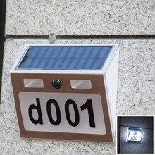 Huisnummer Numer domu na zewnątrz LED Solar światło na czujnik ruchu numer drzwi płyta dom adres numery i litery wodoodporna płyta drzwiowa