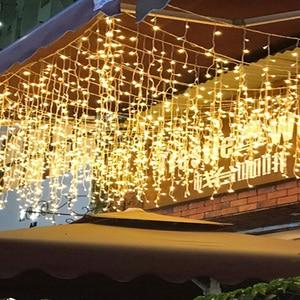 Image 5 - 5 メートルのクリスマスの LED カーテンつららストリングライトドループ 0.4 0.6m LED パーティーの庭屋外防水装飾妖精ライト