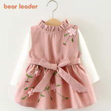 Bear Leader Newest Style Autumn Baby Girls Dress Set  Child Cotton Top  + Toddlers Flower Dress Birthday Dress  2pcs Clothes