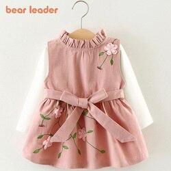 Bear Leader/2018 новейший осенний комплект с платьем для маленьких девочек; Детский хлопковый топ + платье с цветочным рисунком для малышей; Платье ...